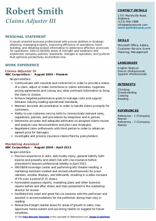 Claims Adjuster III Resume Format