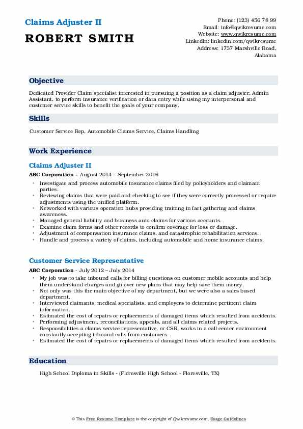 Claims Adjuster II Resume Format