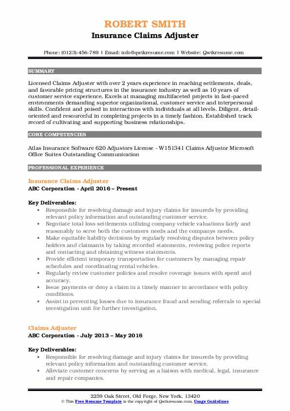 Claims Adjuster Resume Samples Qwikresume