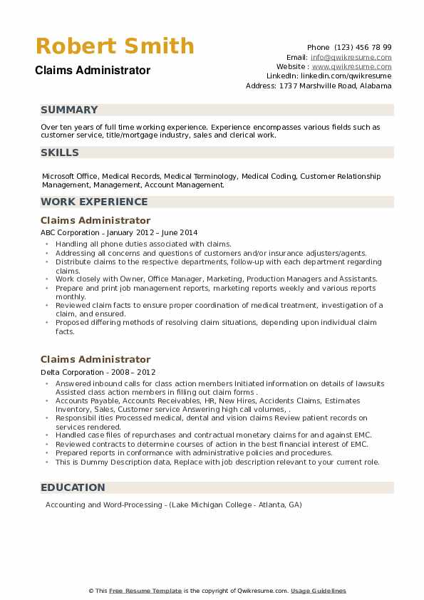 Claims Administrator Resume example
