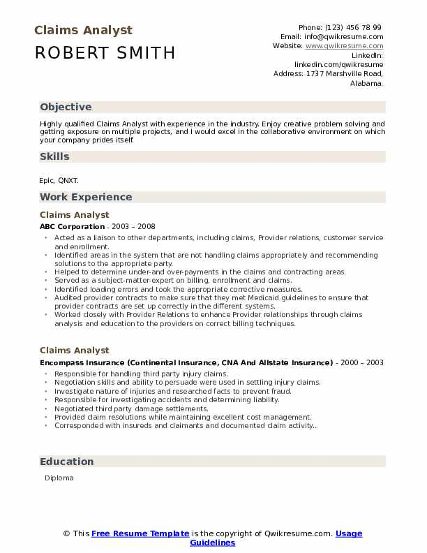 Claims Analyst Resume Model