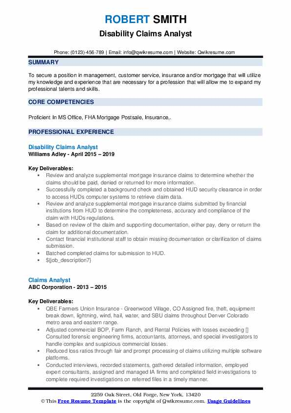 Disability Claims Analyst Resume Sample