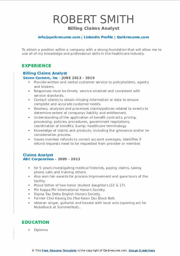 Billing Claims Analyst Resume Format