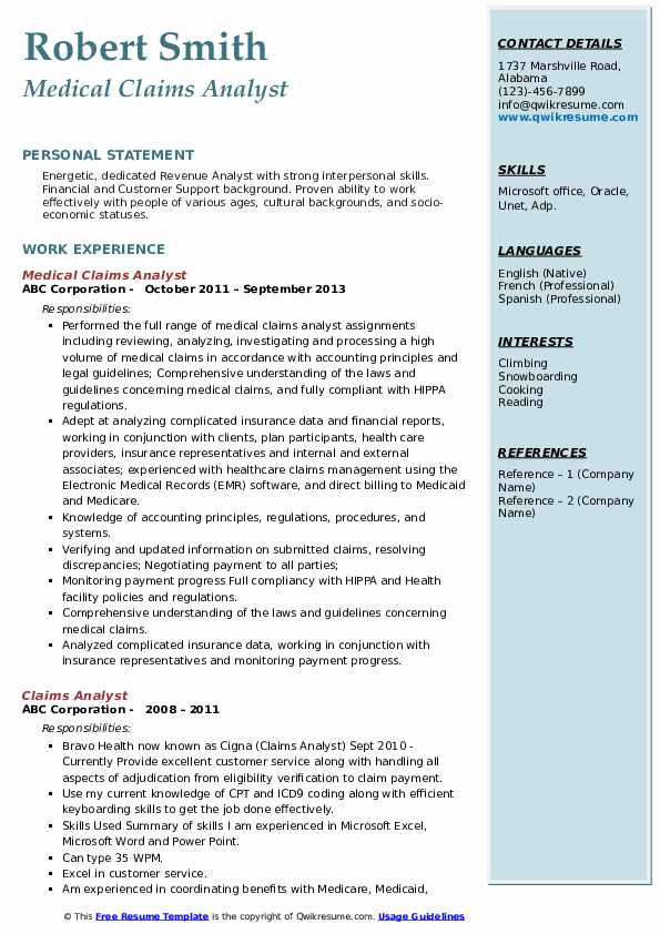 Medical Claims Analyst Resume Sample