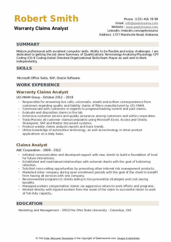 Warranty Claims Analyst Resume Template