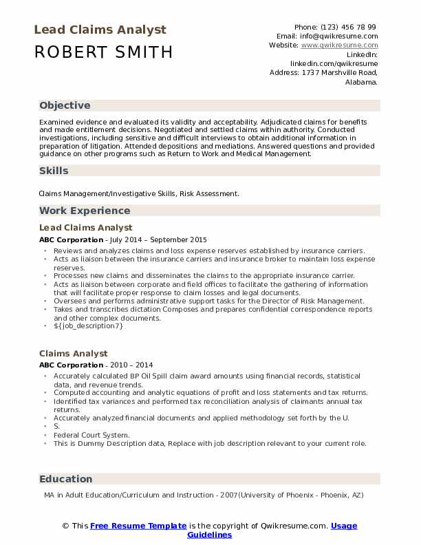 Lead Claims Analyst Resume Format