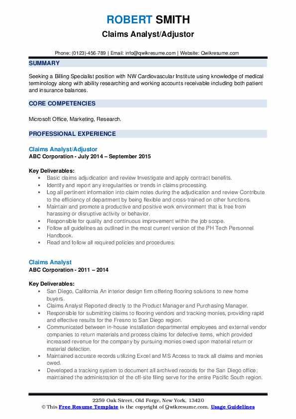 Claims Analyst/Adjustor Resume Sample