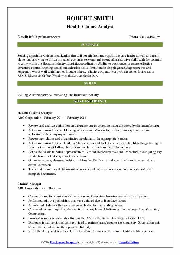 Health Claims Analyst Resume Format