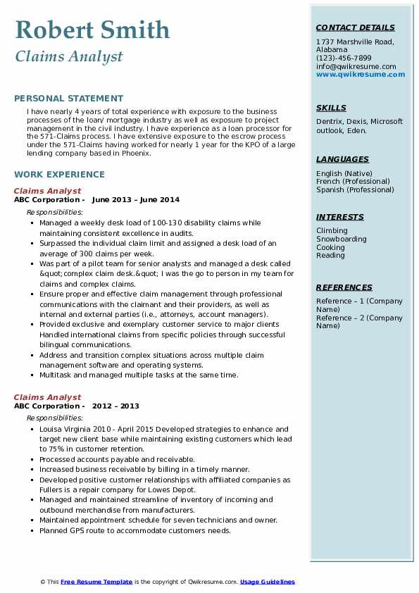 Claims Analyst Resume example