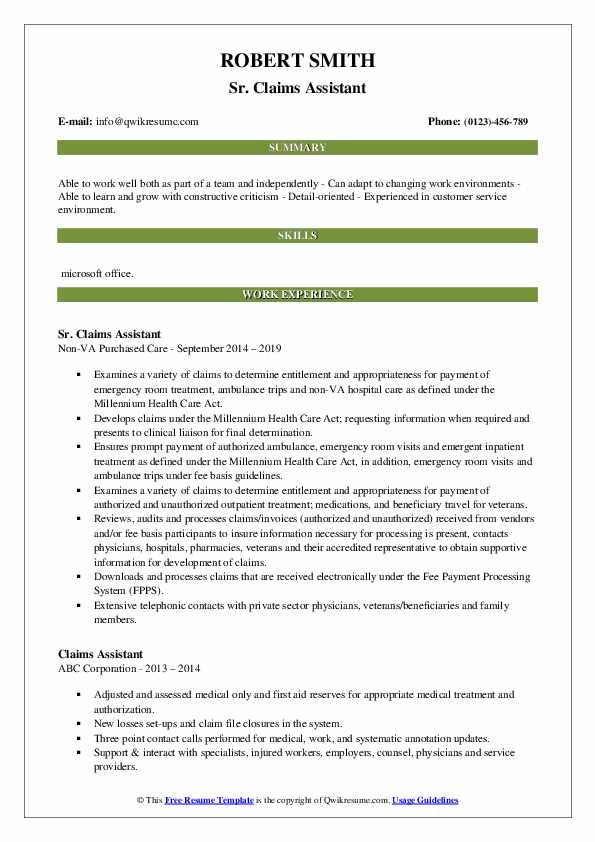 Sr. Claims Assistant Resume Example