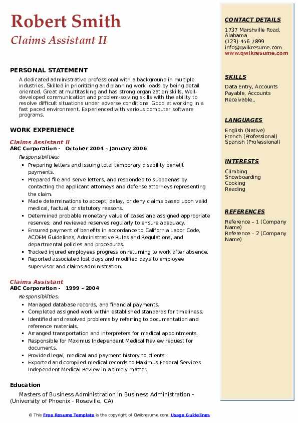 Claims Assistant II Resume Example