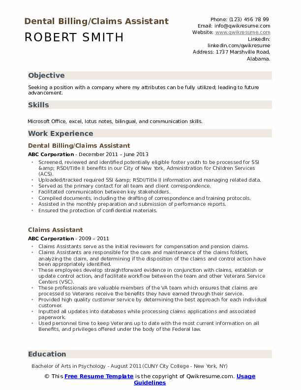 Dental Billing/Claims Assistant Resume Template