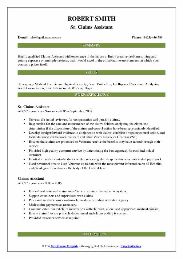 Sr. Claims Assistant Resume Template