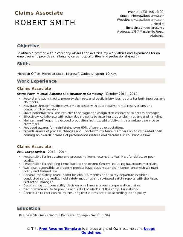 Claims Associate Resume Template