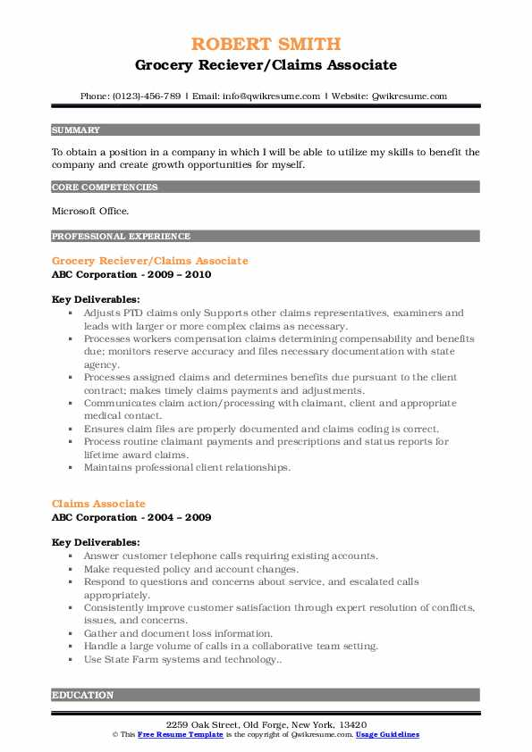 Grocery Reciever/Claims Associate Resume Format