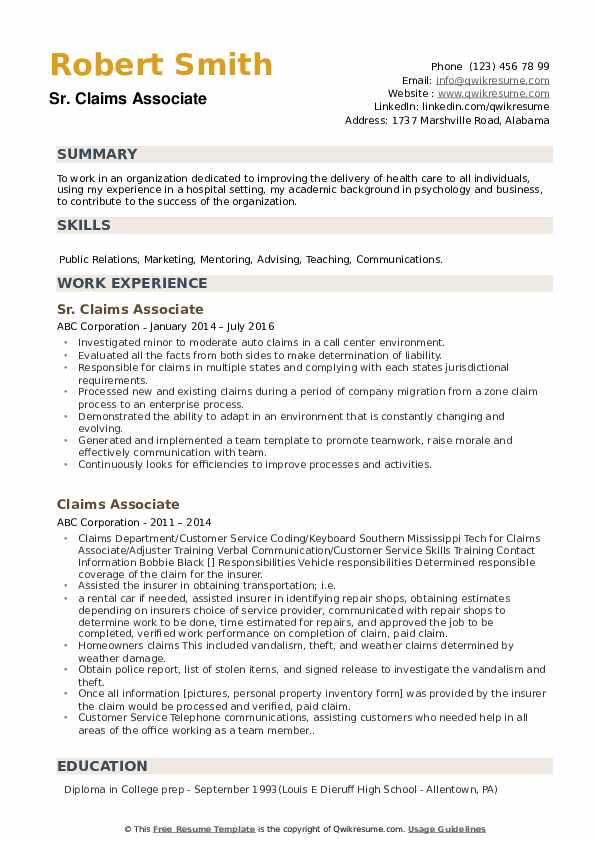 Sr. Claims Associate Resume Model