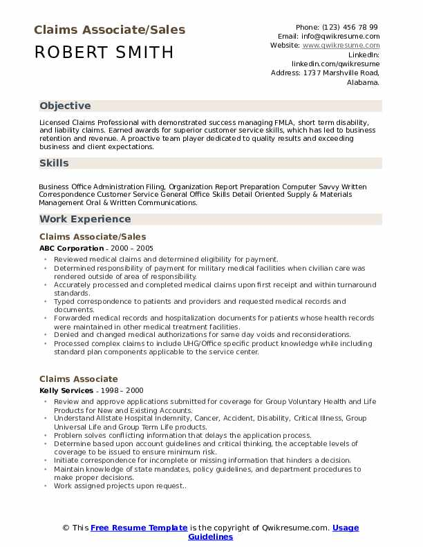 Claims Associate/Sales Resume Format