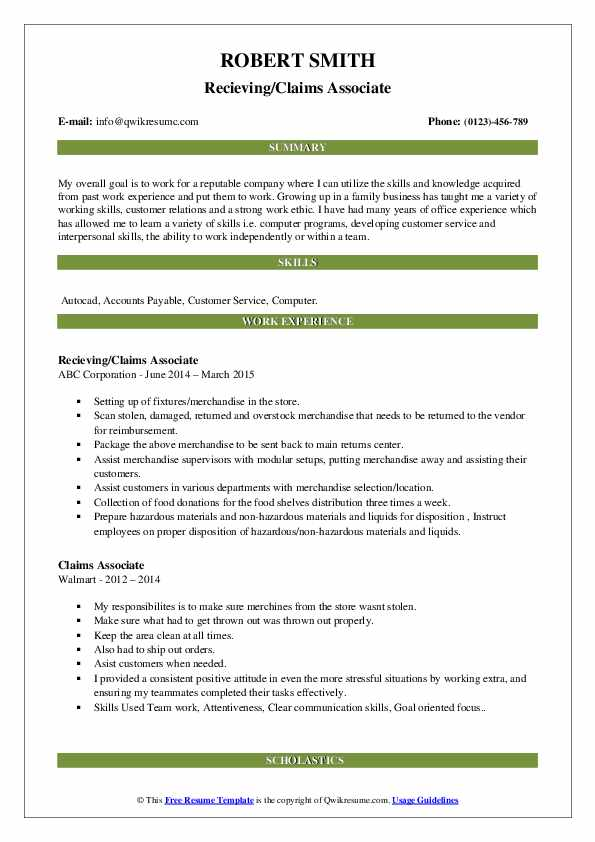 Recieving/Claims Associate Resume Example