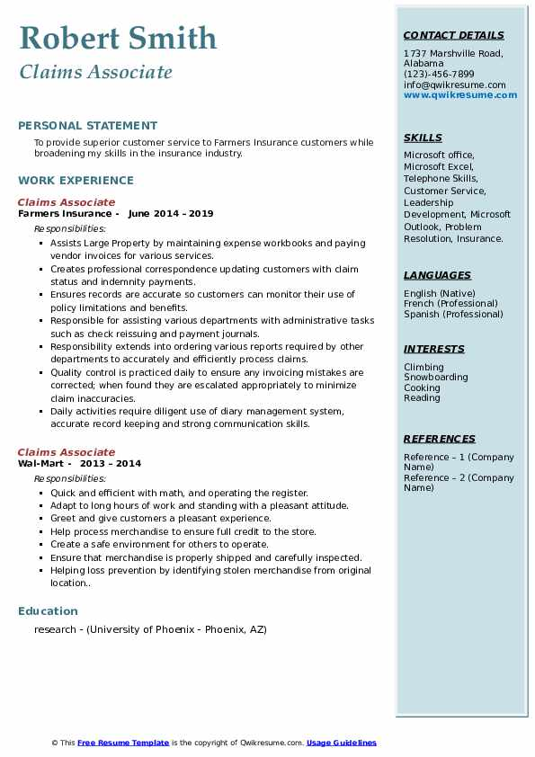 Claims Associate Resume example