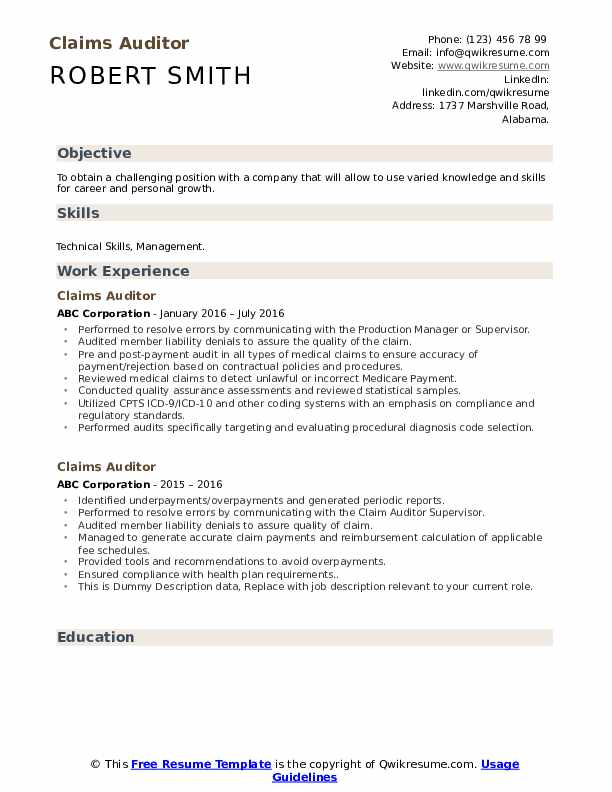 Claims Auditor Resume example