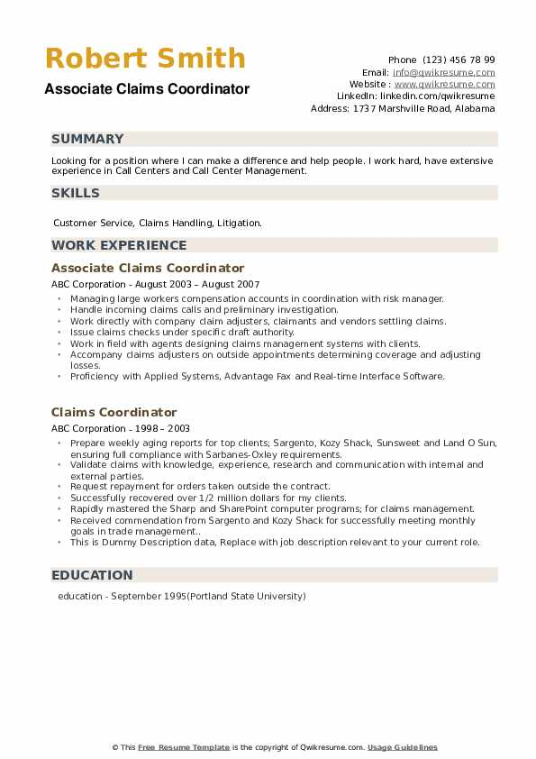 Associate Claims Coordinator Resume Template