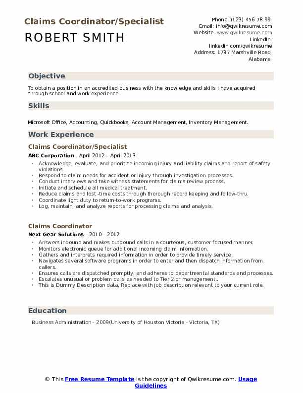Claims Coordinator/Specialist Resume Model