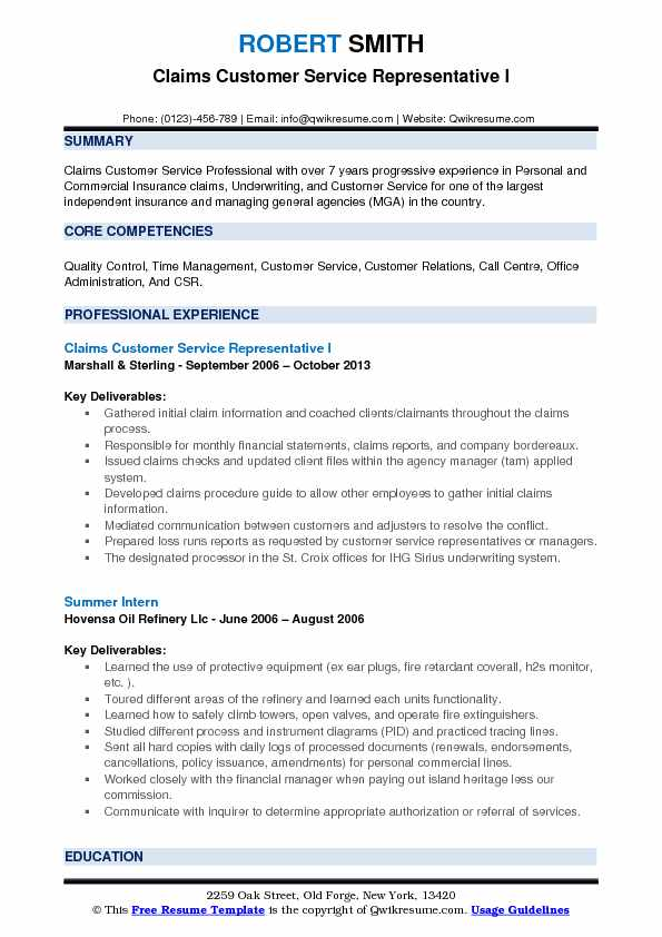 Claims Customer Service Representative Resume Samples