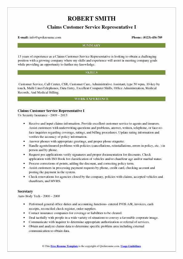 Claims Customer Service Representative I Resume Example