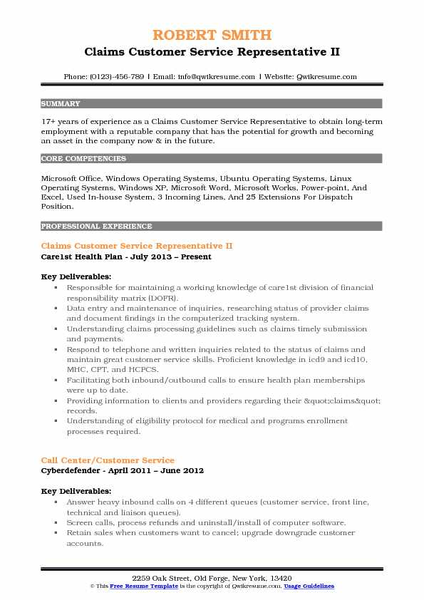 customer service representative resume sample pdf