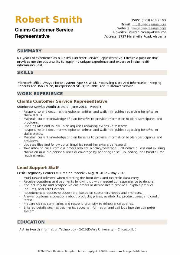 Claims Customer Service Representative Resume example