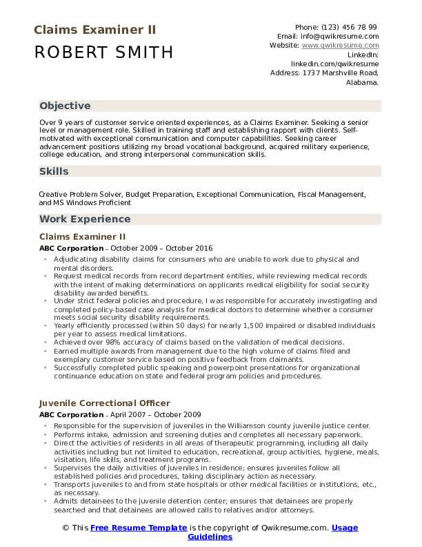 Claims Examiner II Resume Template