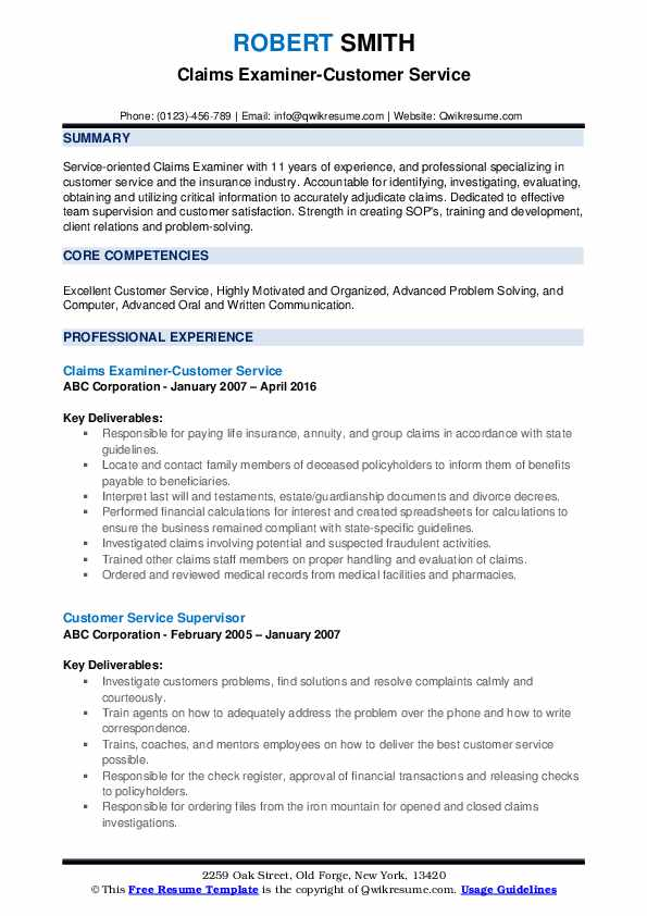 Claims Examiner-Customer Service Resume Sample