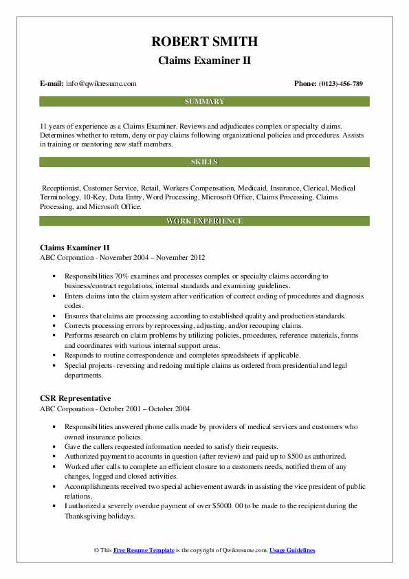 Claims Examiner II Resume Format