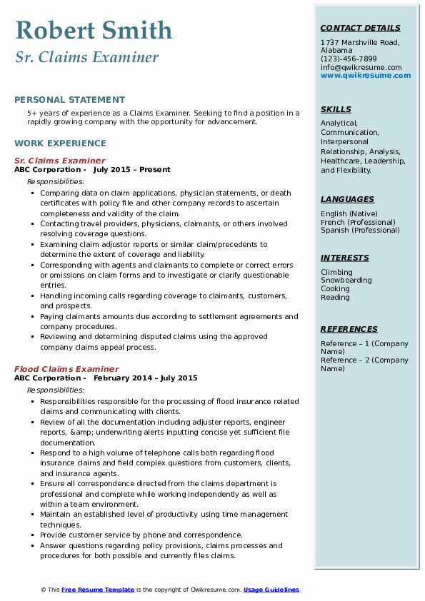 Sr. Claims Examiner Resume Format