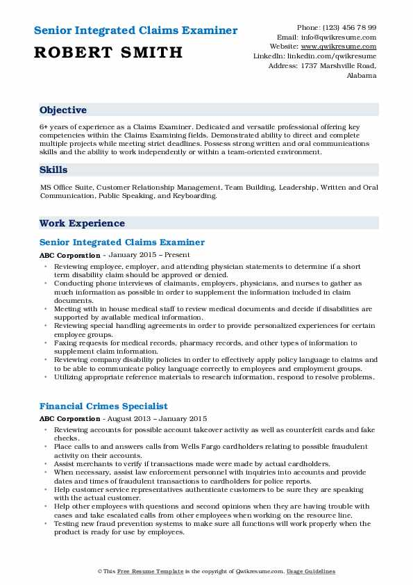 Senior Integrated Claims Examiner Resume Format