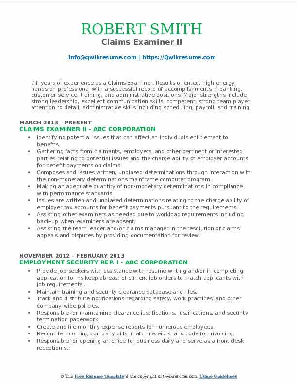 Claims Examiner II Resume Example