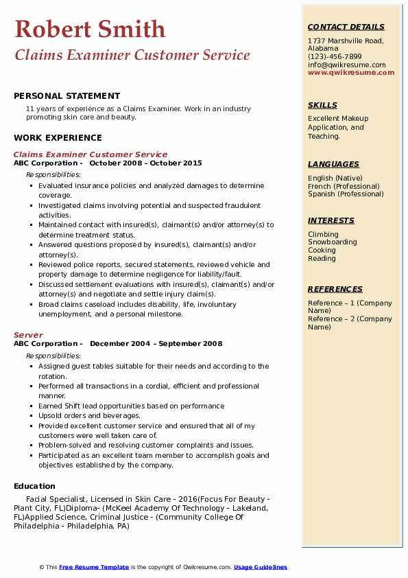 Claims Examiner Customer Service Resume Example