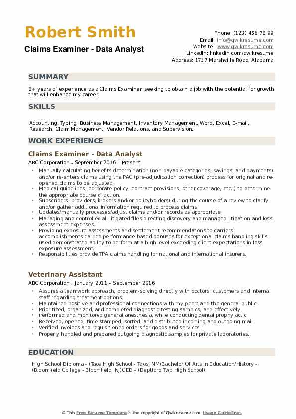 Claims Examiner Resume example