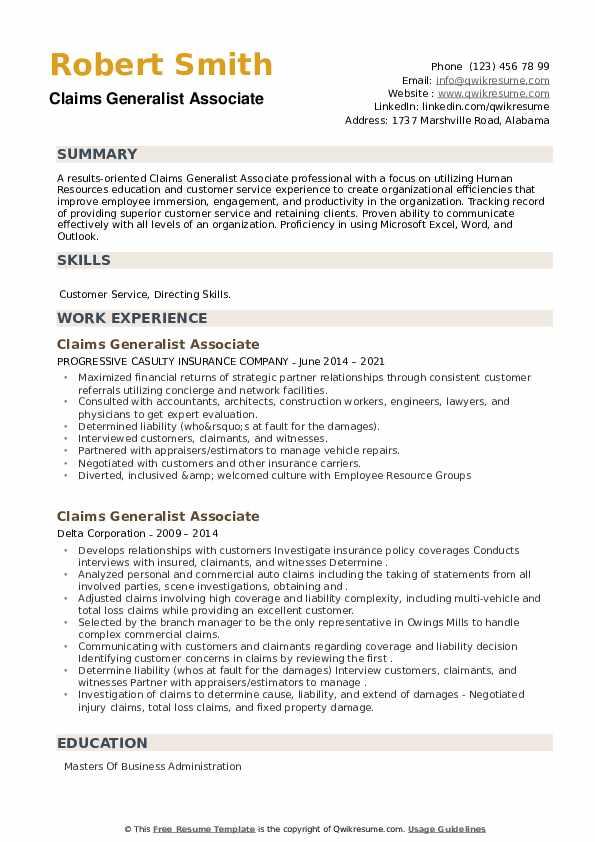 Claims Generalist Associate Resume example