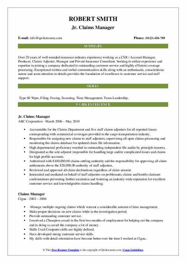 claims manager resume - Kozen.jasonkellyphoto.co