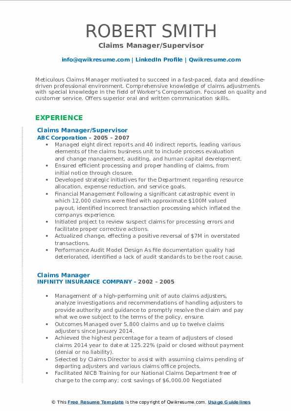 Claims Manager/Supervisor Resume Model