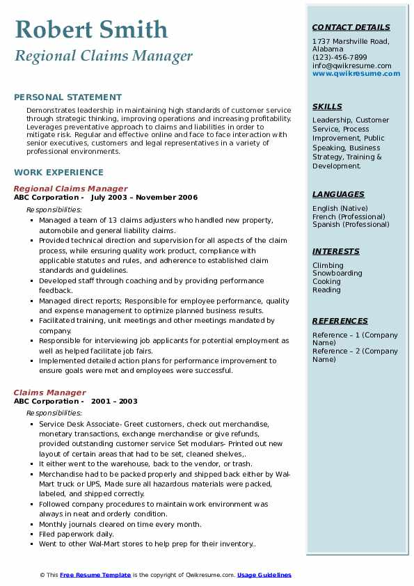 Regional Claims Manager Resume Example