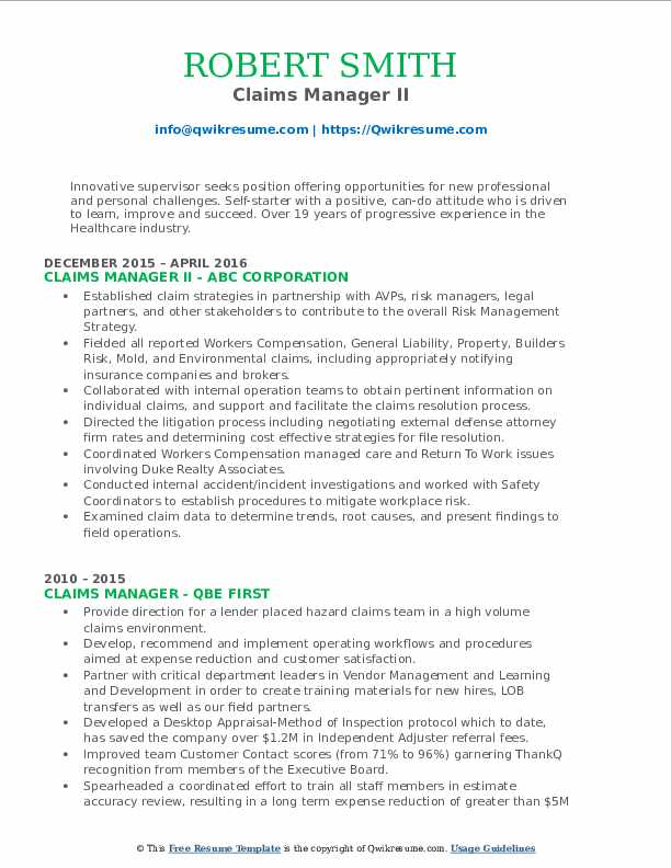 Claims Manager II Resume Template