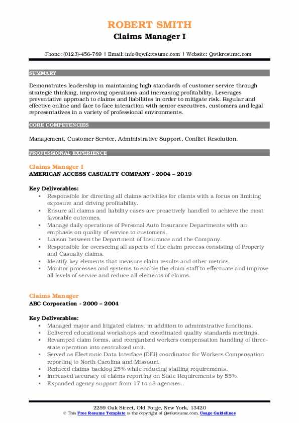 Claims Manager I Resume Template