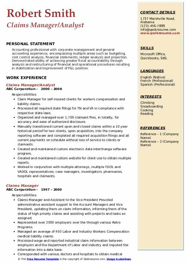 Claims Manager/Analyst Resume Format