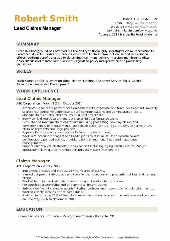 Lead Claims Manager Resume Format