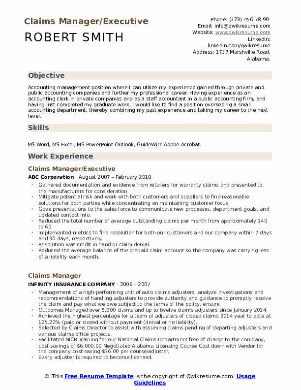 Claims Manager/Executive Resume Format
