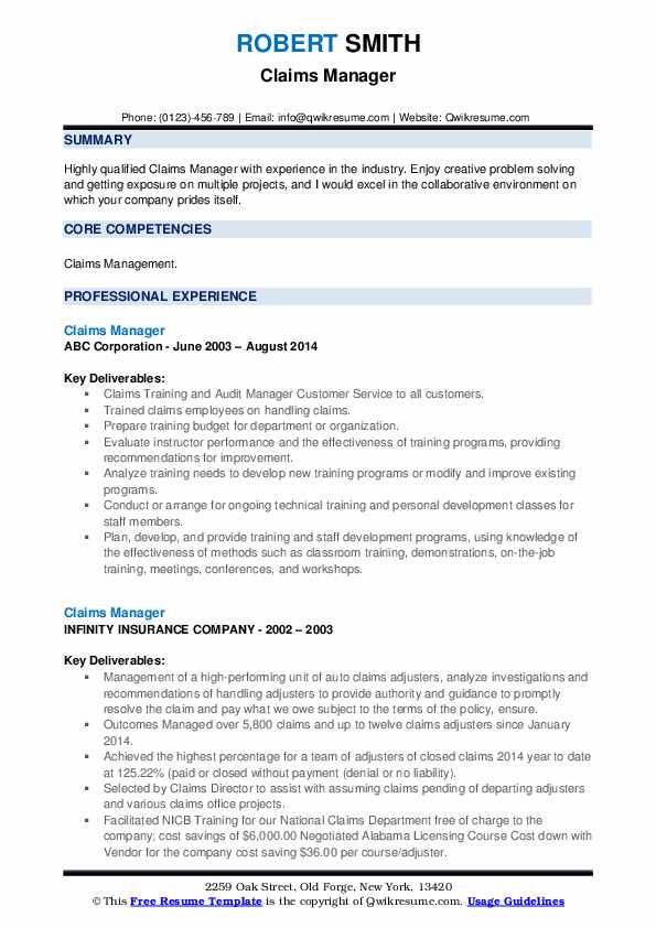 Claims Manager Resume example