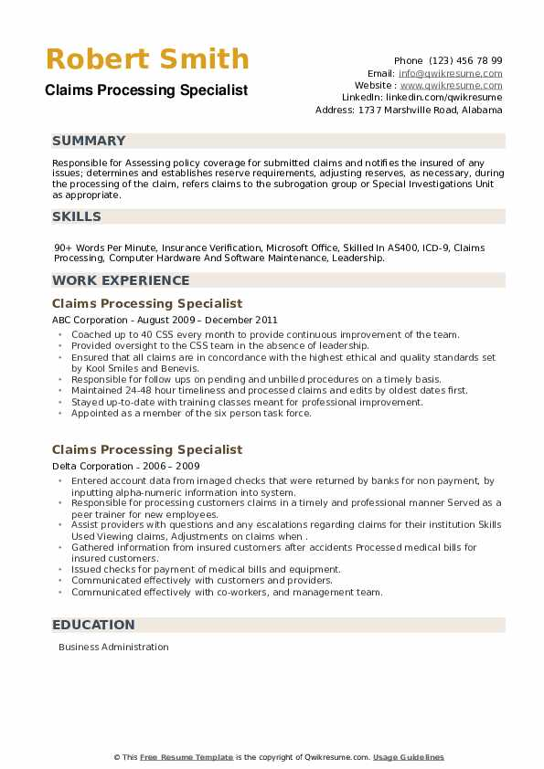 Claims Processing Specialist Resume example