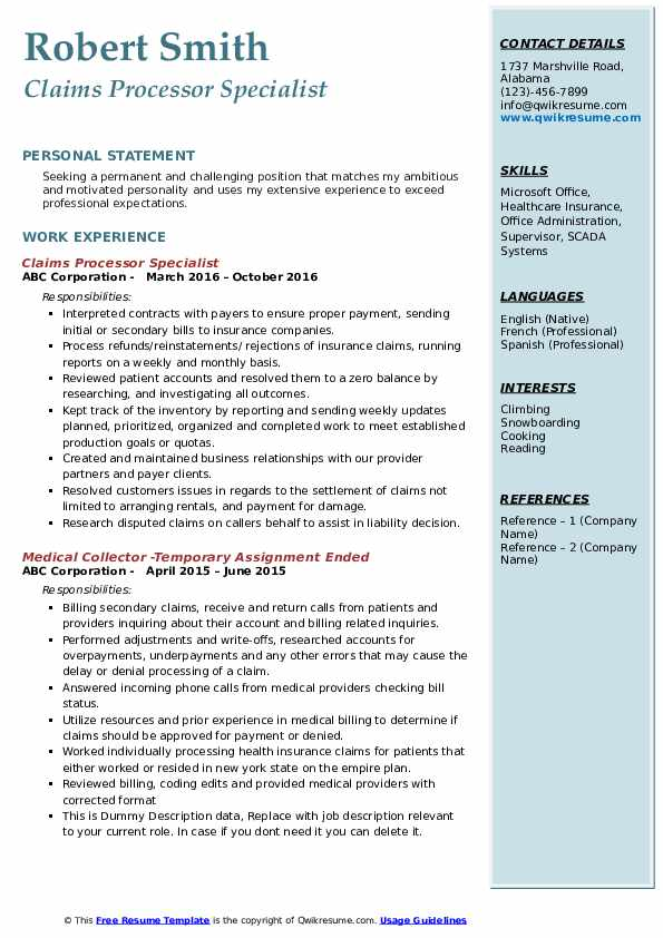 Claims Processor Specialist Resume Example